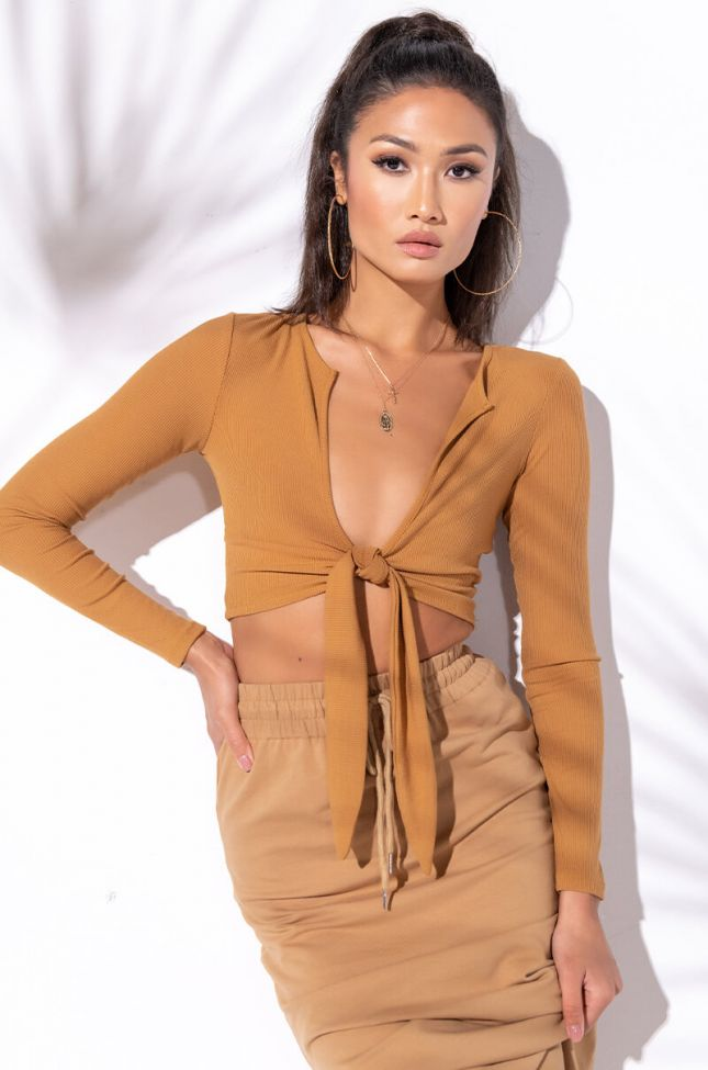 Front View Tie Up Basic Rib Long Sleeve in Beige