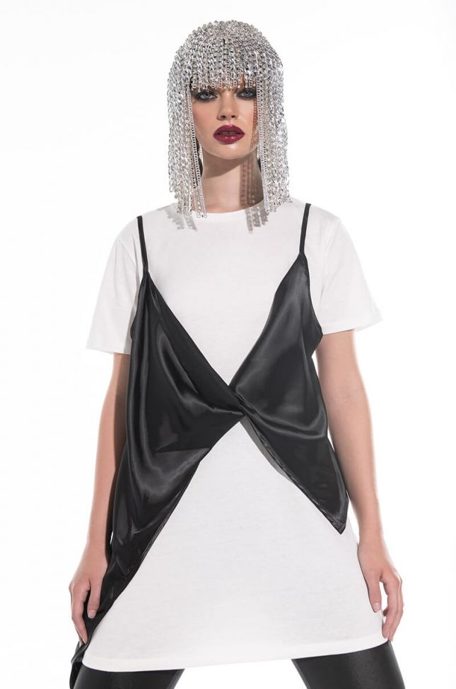 Front View Tied Up T Shirt Dress With Satin Layer