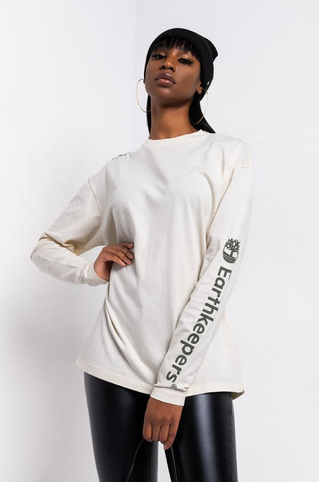 Front View Timberland Core Long Sleeve Tee in Ivory