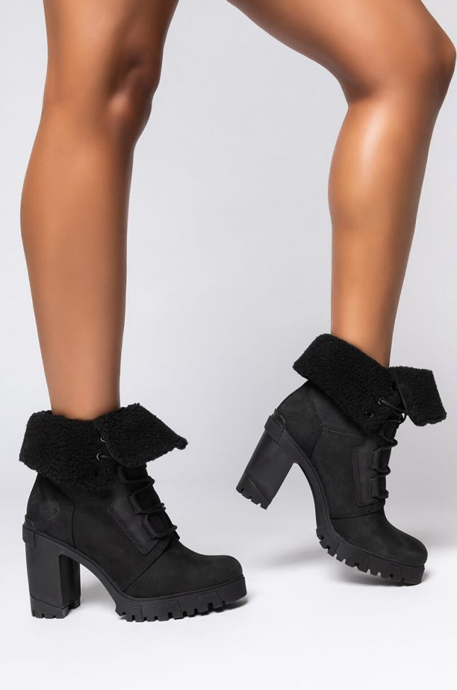 Front View Timberland Lana Point Warm Lined Bootie in Black Nubuck