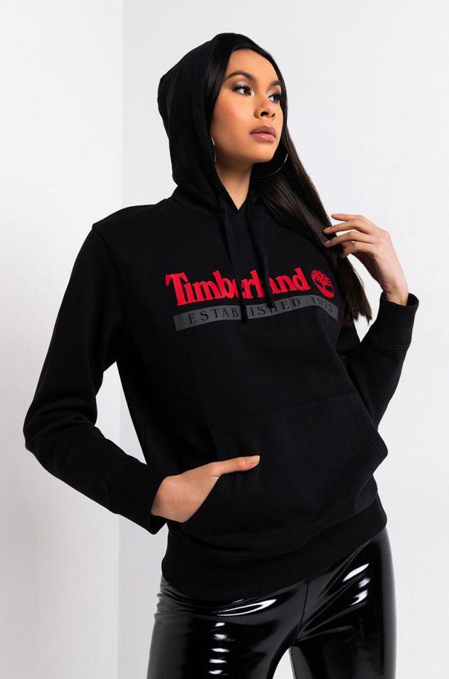 Front View Timberland Unisex 1973 Hoodie Sweatshirt in Black Dark Shadow