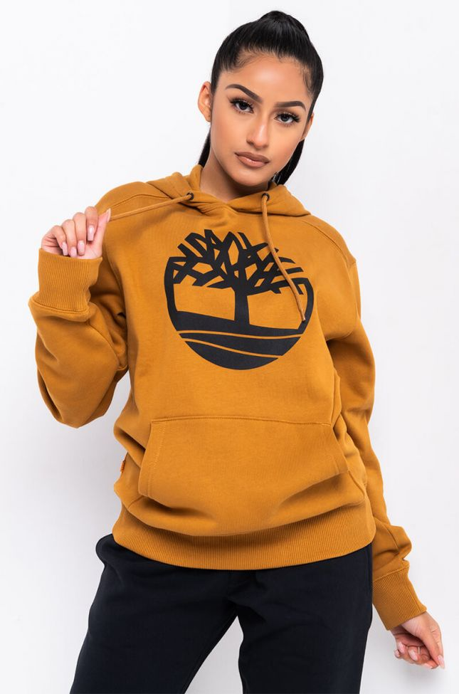Front View Timberland Unisex Core Tree Logo Pullover Hoodie in Wheat Boot Black