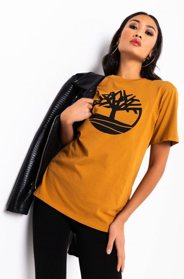 Side View Timberland Unisex Kennebec River Tree Logo Tee in Wheat Boot