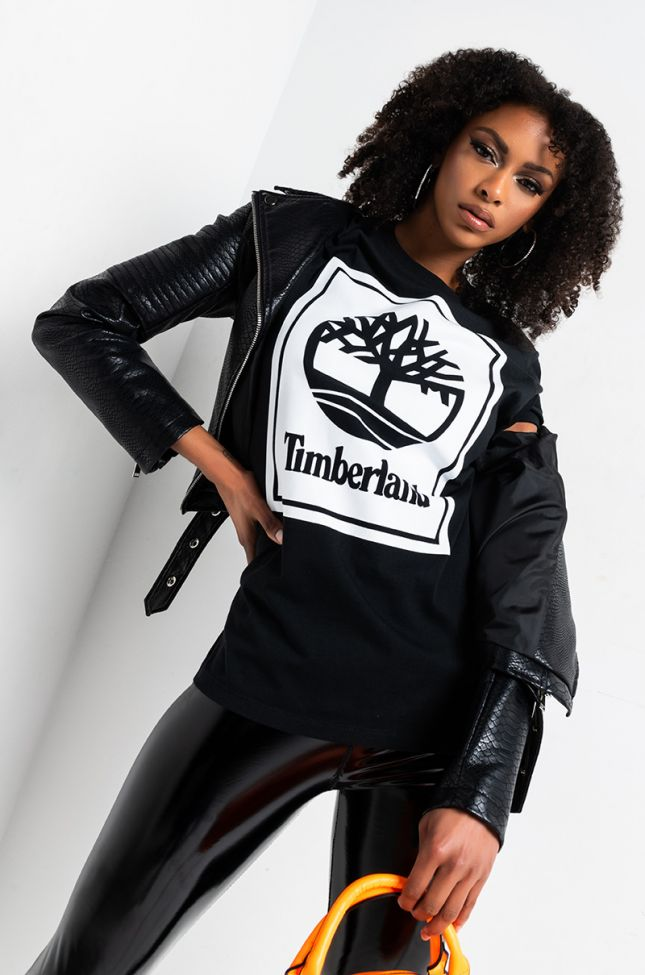 Front View Timberland Unisex Short Sleeve Crew in Black White