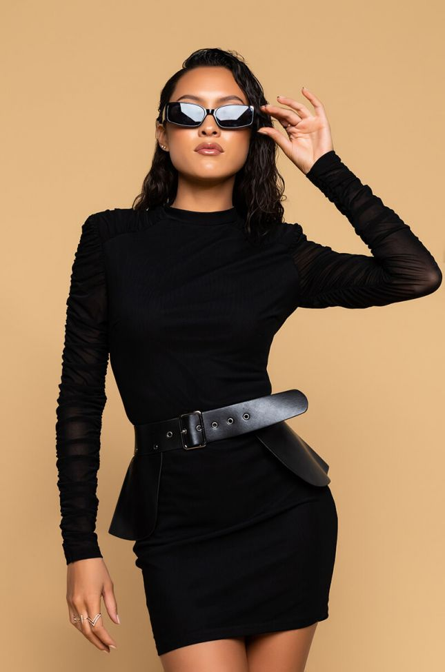 Front View Tina Mesh Sleeve Dress With Peplum Belt in Black
