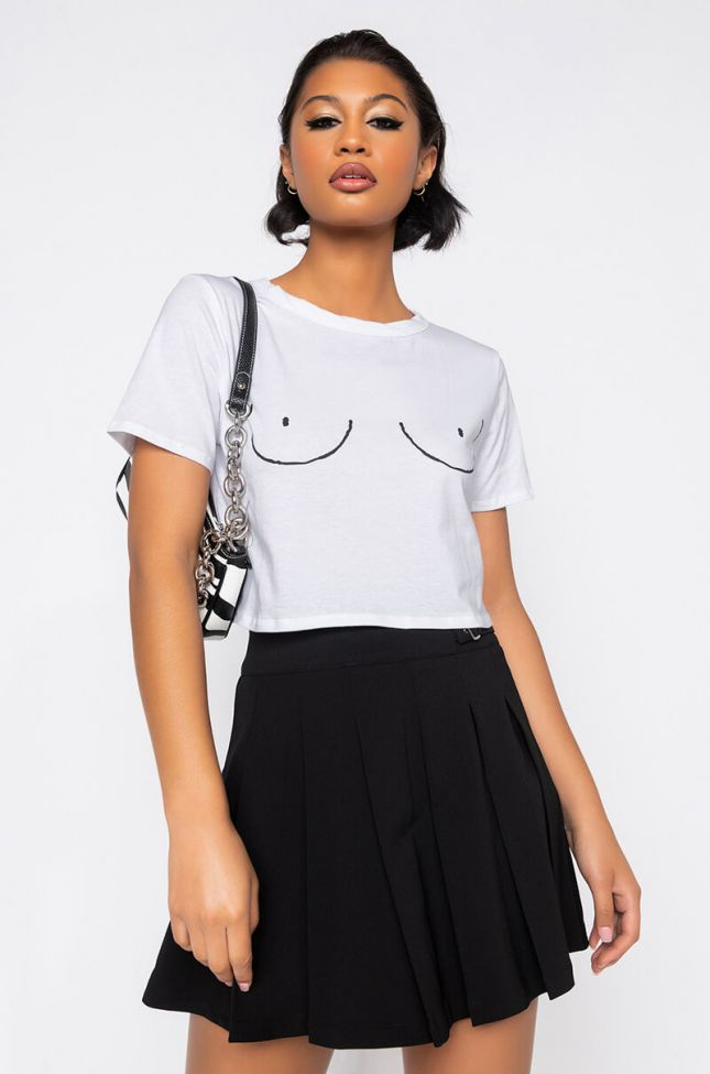 Front View Tits Out Graphic Crop Top in White