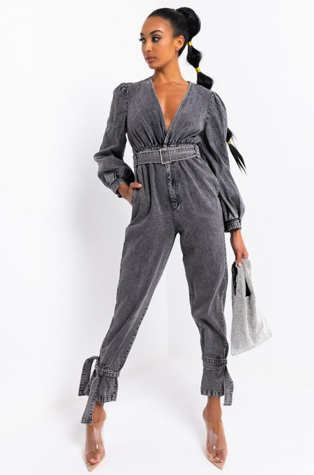 Side View To All The Boys Tie Bottom Belted Jumpsuit in Grey