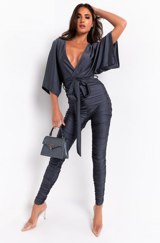Front View To The Top Stacked Leg Jumpsuit in Charcoal Grey