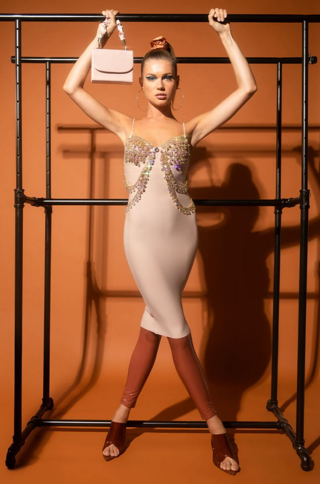 Too Expensive For You Midi Dress With Rhinestones in Nude