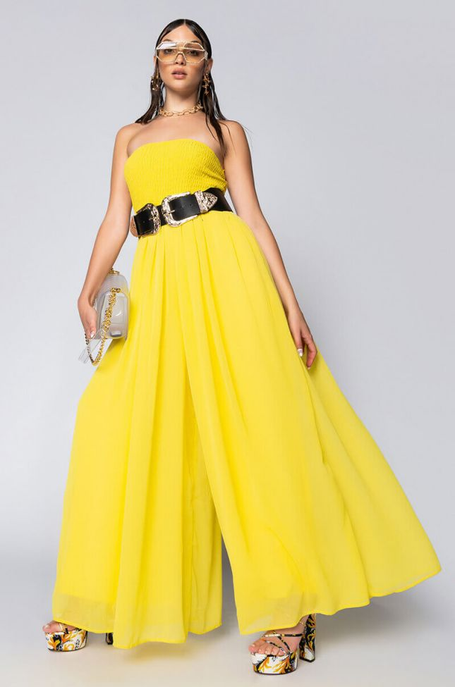 Front View Too Glam To Give A Damn Tube Jumpsuit in Yellow