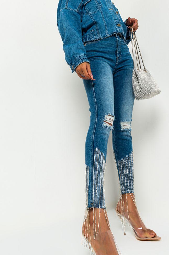 Too Good High Waisted Rhinestone Fringe Skinny Jeans in Medium