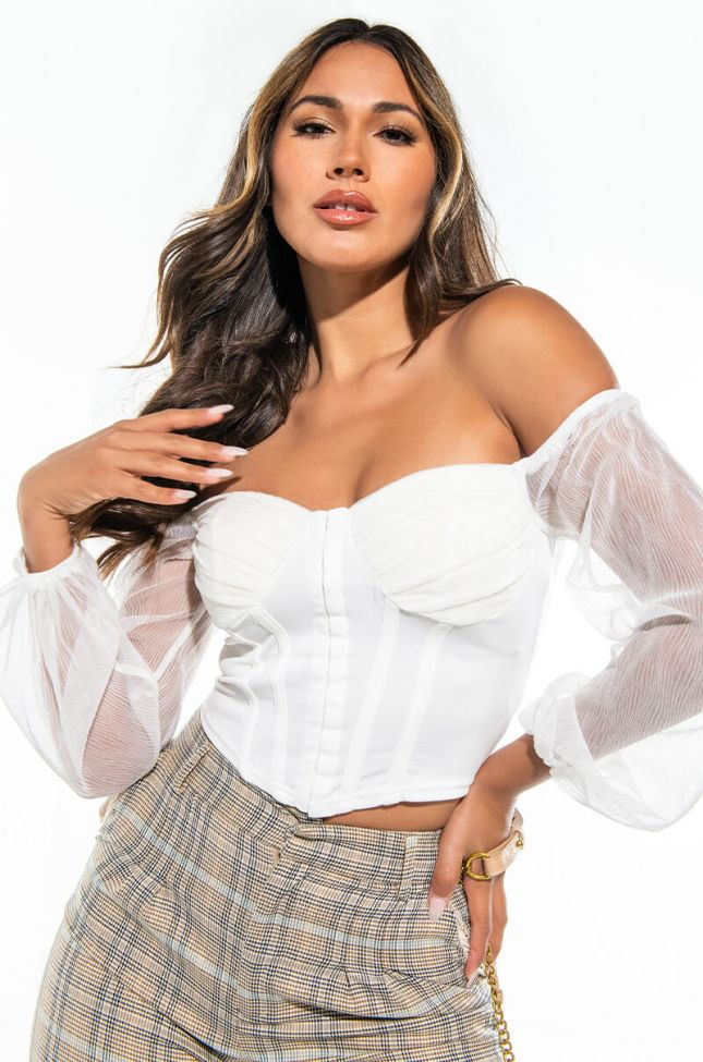 TOO HOT OFF THE SHOULDER CORSET BLOUSE