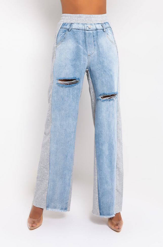 Front View Too Hot To Go Denim Mix Sweatpants in Heather Grey