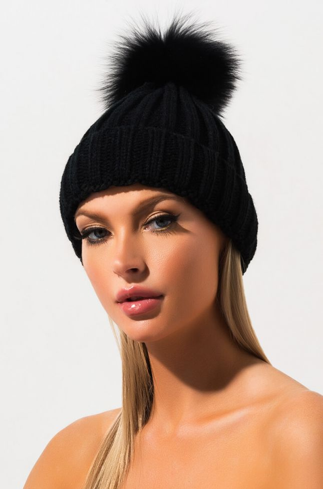 Front View Top Knot Fur Ball Knit Beanie in Black