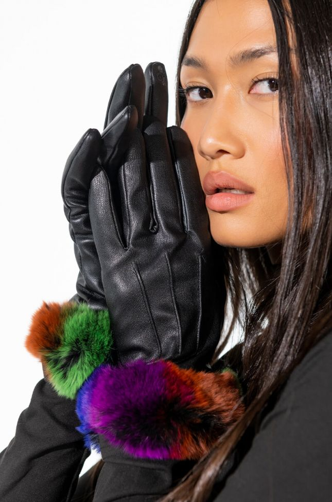 TOUCH PHONE COMPATIBLE PLEATHER GLOVE WITH FUR TRIM