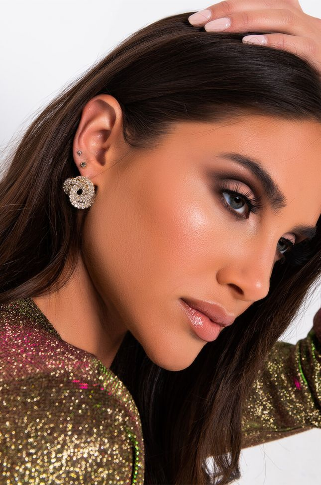 Front View Trifecta Rhinestone Earring in Gold
