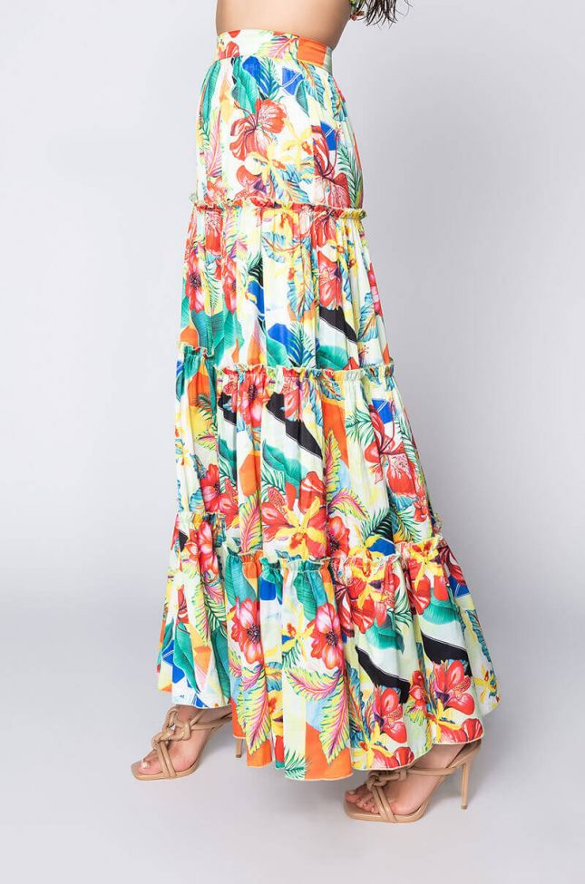 Side View Tropic Like Its Hot Maxi Skirt With Tropical Print in Green Multi