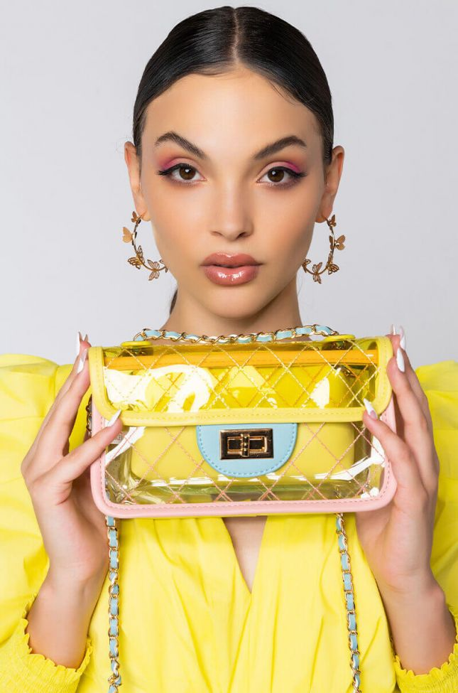 Front View Tropical Sun Clear Purse in Yellow Multi