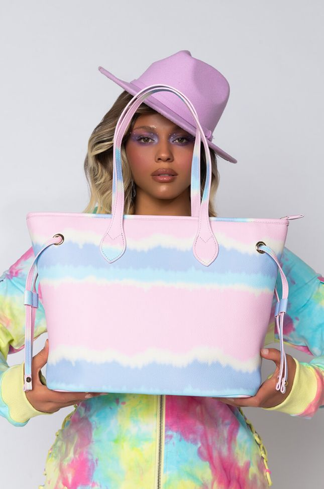 Front View Tropical Tote Bag in Pink Multi