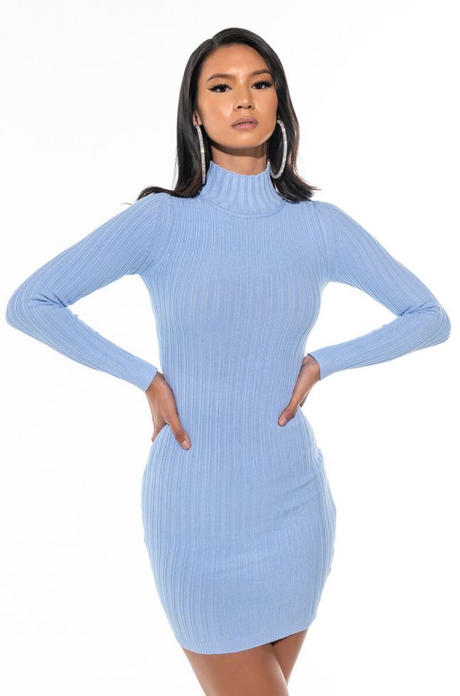 Front View True To You Long Sleeve Mock Neck Dress With Cut Outs