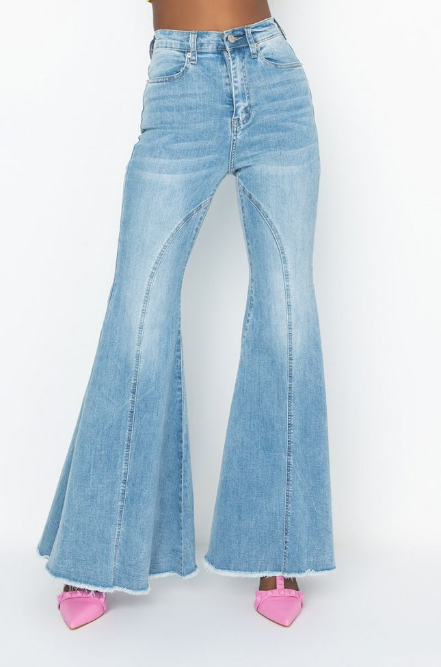 Front View Trust The Process High Waisted Super Flare Jeans in Light Blue Denim