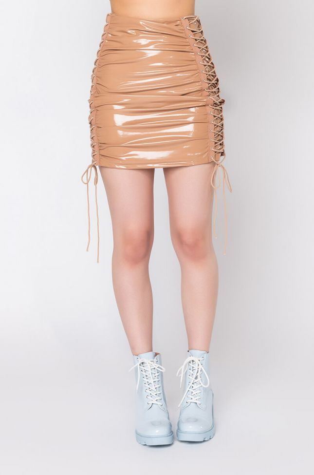Front View Truth Hurts Vinyl Mini Skirt in Light Brown