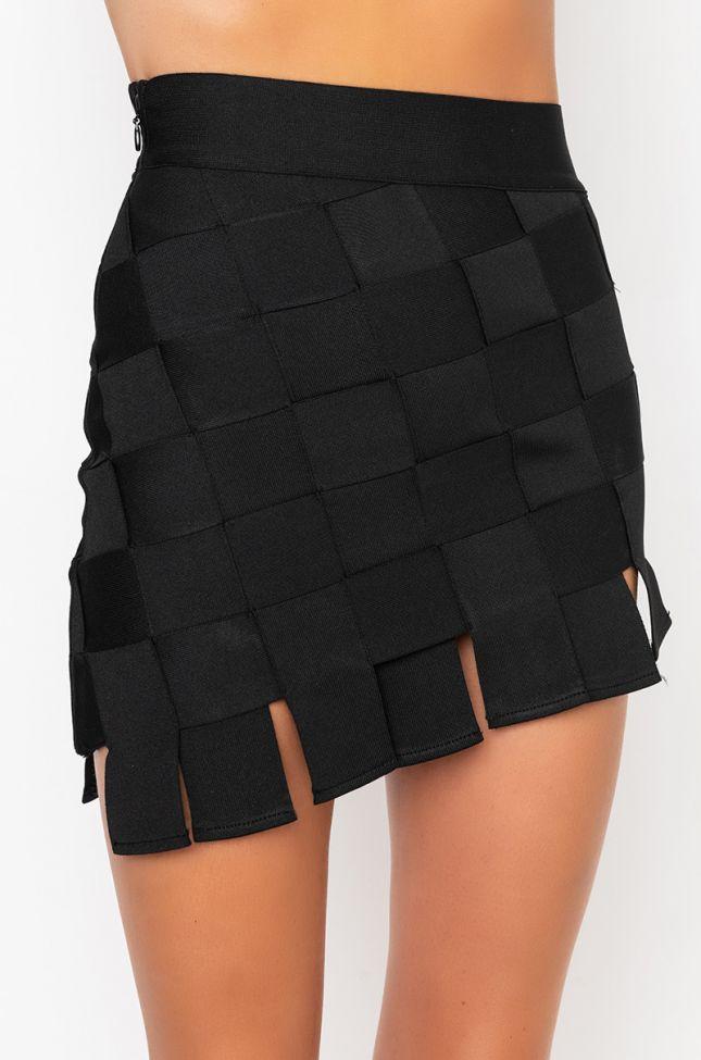 Detail View Try It Bandage Mini Skirt in Black