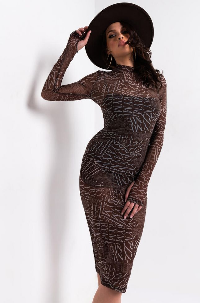 Front View Try Me Mesh Midi Dress in Brown