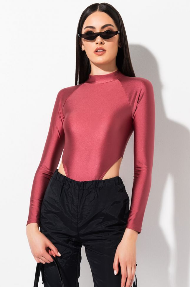 Front View Try To Stop Me Long Sleeve Bodysuit in Mauve