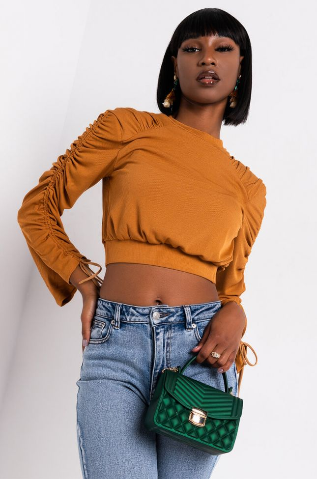 Front View Turn It Up Long Ruched Sleeve Sweater in Brown