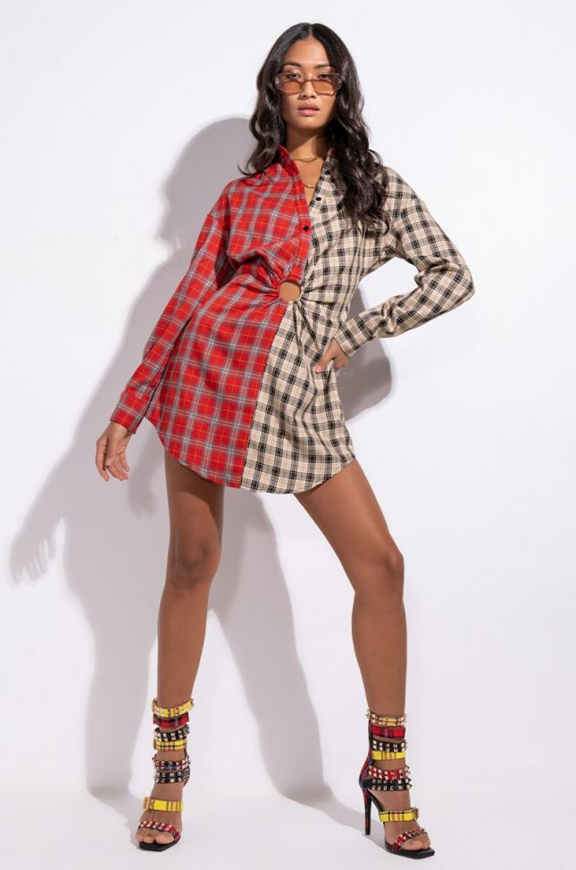 Extra View Two Faced Plaid Ring Detail Mini Dress