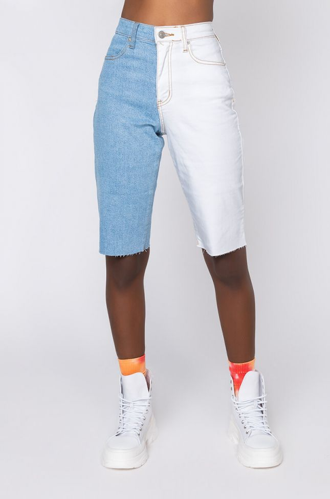 Front View Two Tone Denim Bermuda Shorts in Blue