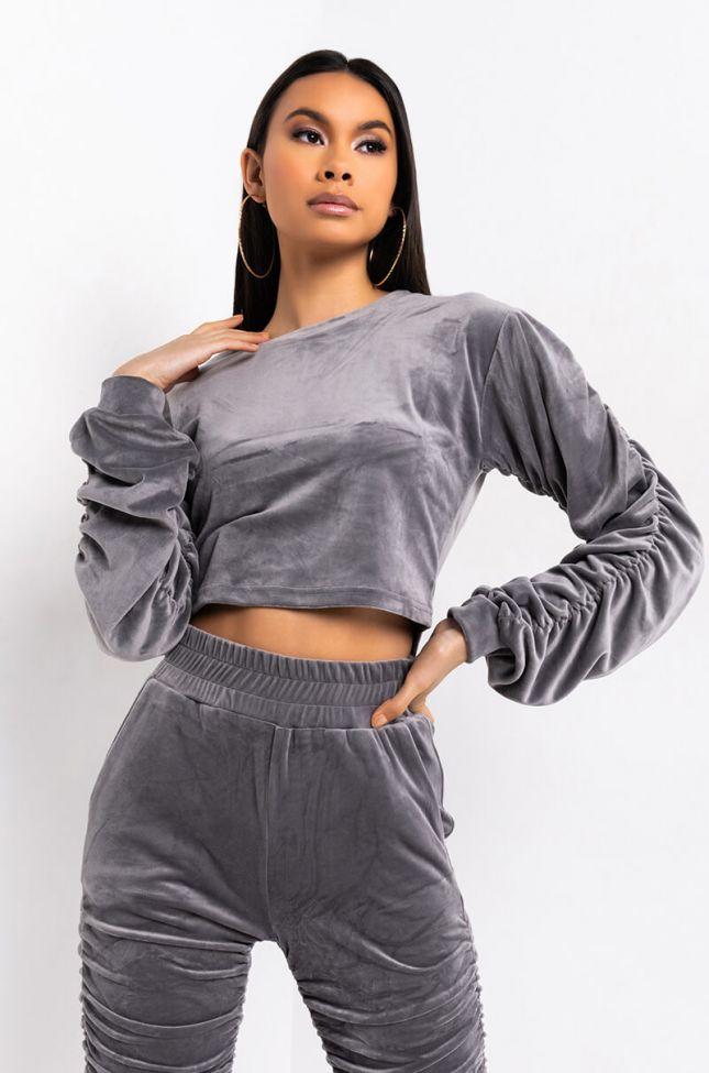 Front View Tysm Velvet Rouched Sweatshirt in Grey