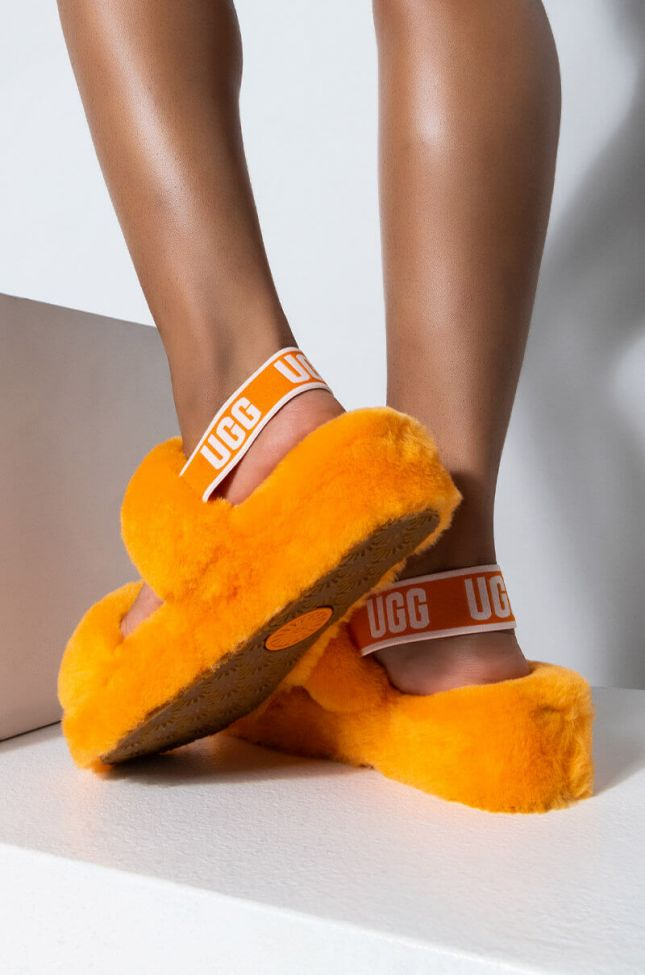 Front View Ugg Womens Oh Yeah Fluff Slide Sandal in California Poppy