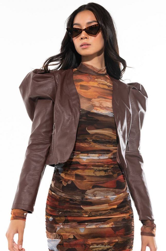 Side View Ultimate Puff Sleeve Pleather Blazer