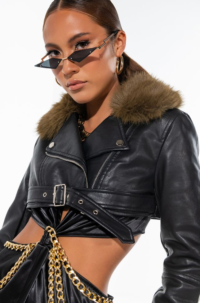 ULTRA CROP MOTO JACKET WITH FAUX FUR COLLAR