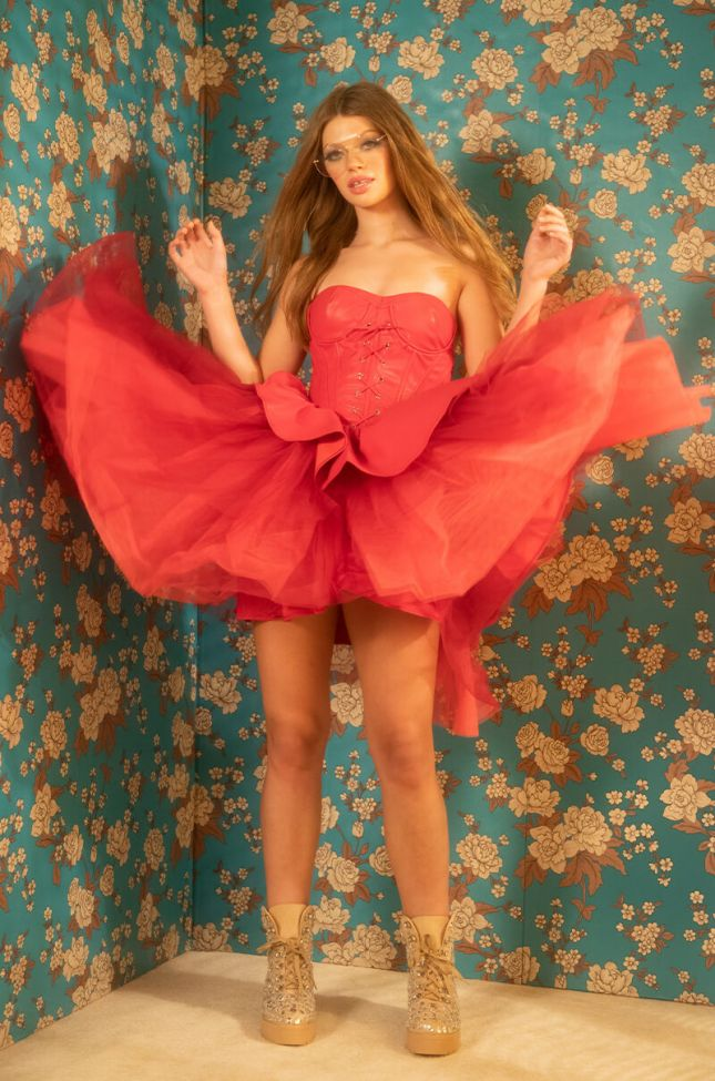Extra View Ultra Fab Fashion Dress With Attached Corset And Tulle Skirt