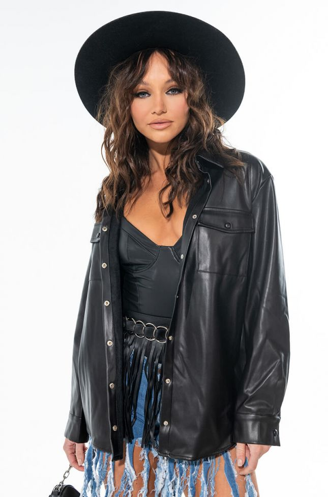 ULTRA LUX FAUX LEATHER BLOUSE