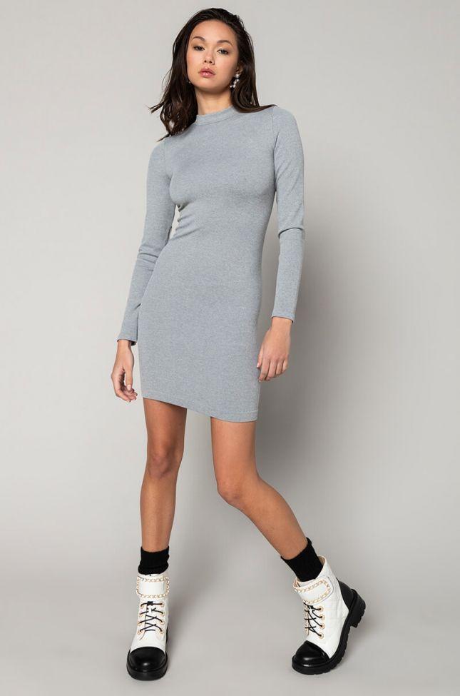Ultra Seamless Long Sleeve Mini Dress in Heather Grey