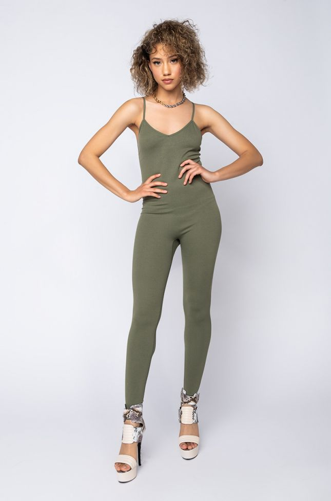 Front View Ultra Seamless Ribbed Tank Playsuit in Olive
