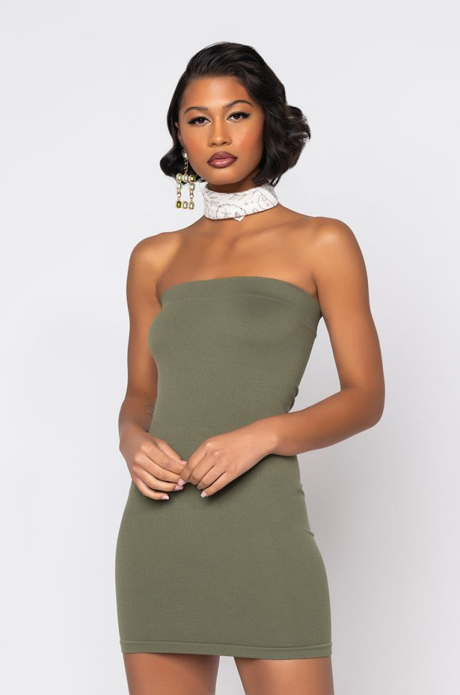 Front View Ultra Seamless Tube Dress in Olive