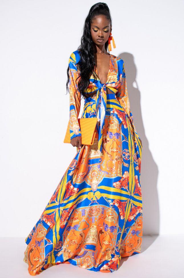 Full View Unapologetic Periodt Satin Maxi Skirt in Orange Multi