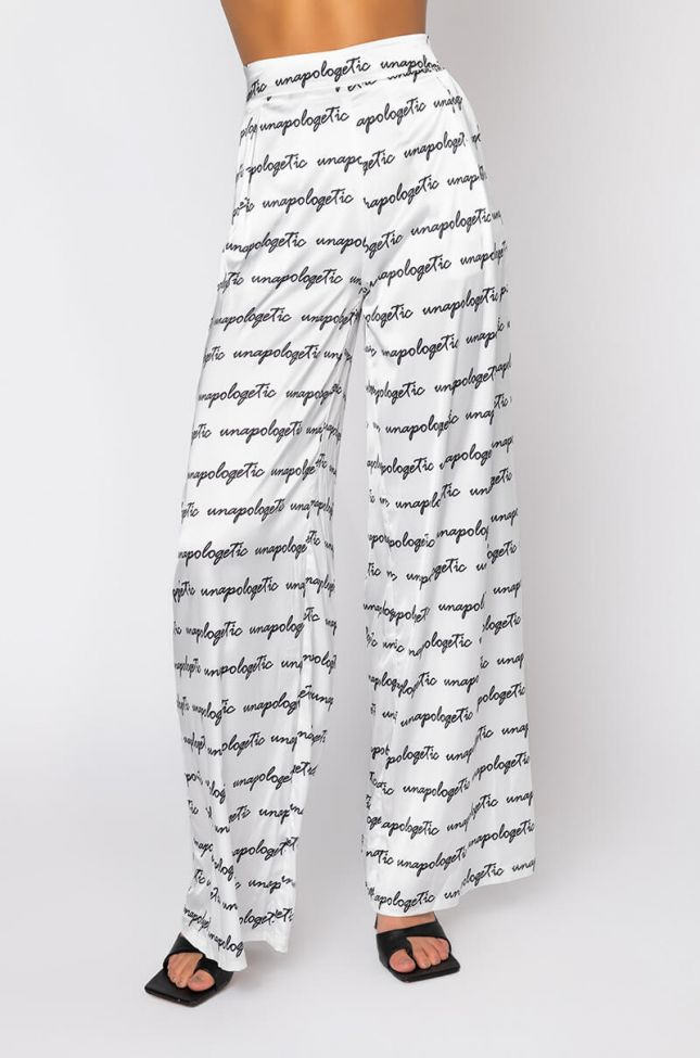 Front View Unapologetic Periodt Satin Pants in White Multi