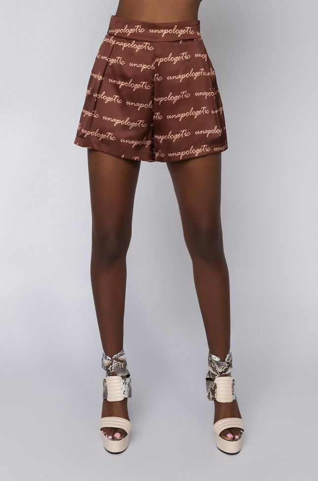 Front View Unapologetic Periodt Satin Short in Brown Multi