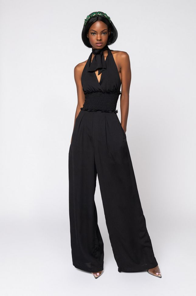 Front View Unconditional Halter Top Jumpsuit in Black