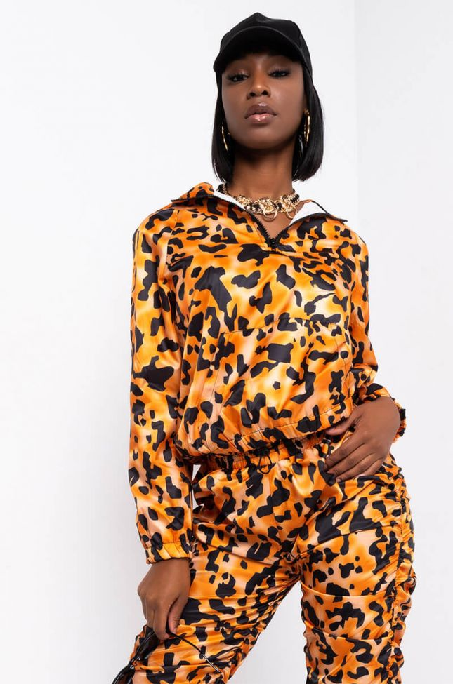 Front View Unstoppable Long Sleeve Half Zip Bomber Sweatshirt in Orange Multi
