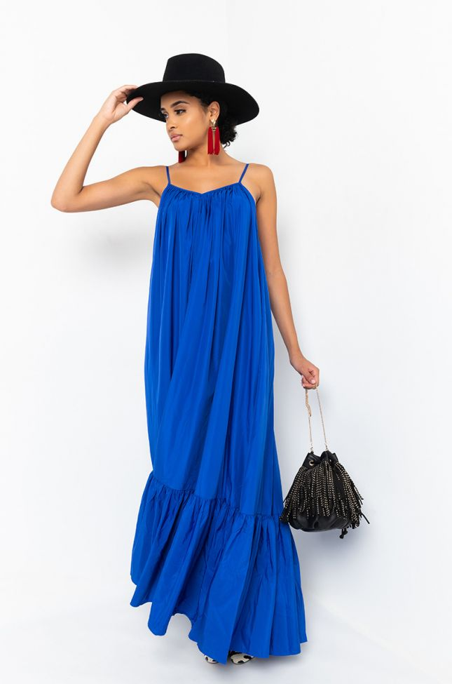 Side View Unstoppable Sleeveless Flowy Maxi Dress in Royal Blue