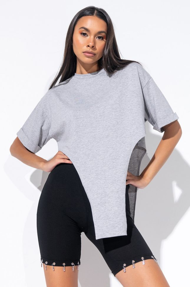 Front View Unthinkable T Shirt With Irregular Hem in Heather Grey