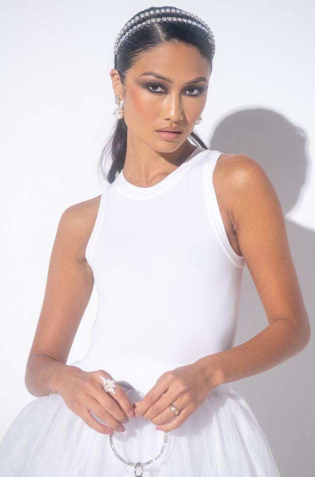 Front View Unwind Sleeveless Bodysuit in White