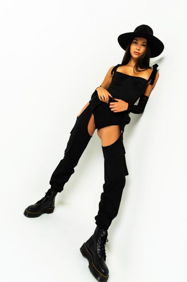 Back View Up All Night Ruched Sleeve Bodysuit in Black
